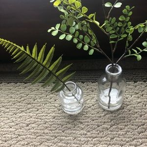 Threshold small vases with greenery
